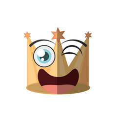 Cartoon golden crown party wink vector