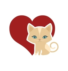 cat animal domestic furry red heart vector image vector image