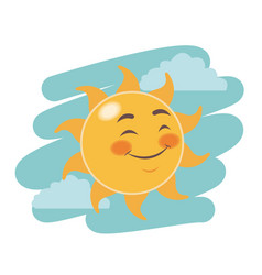 cheerful cartoon sun close eyes facial expression vector image