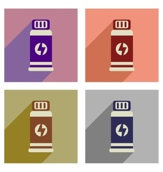 Concept of flat icons with long shadow jar energy vector