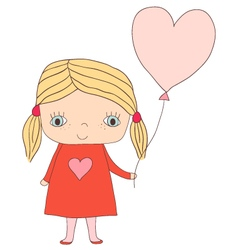 Cute little girl with balloon vector