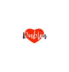 European capital city dublin love heart text logo vector