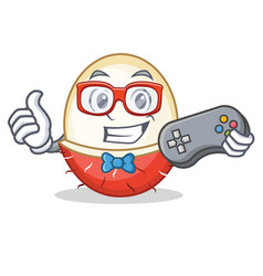 Gamer rambutan mascot cartoon style vector