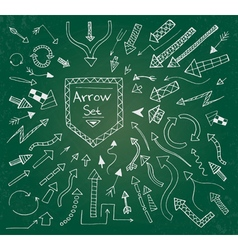 Hand drawn arrow icons set on green vector image vector image