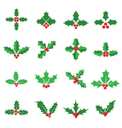 Holly berry icons vector image vector image