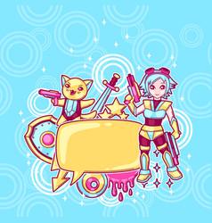 Japanese anime cosplay background cute kawaii vector