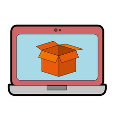 Laptop computer with box vector