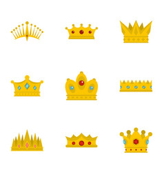medieval crown icon set flat style vector image