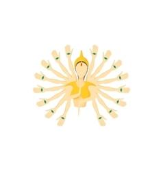 Multi armed buddha icon cartoon style vector image vector image