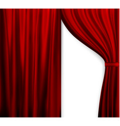 Naturalistic image of curtain open curtains red vector