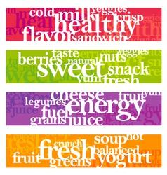 nutrition words banner set vector image