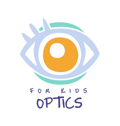 optics for kids logo symbol oculist sign hand vector image