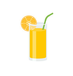 orange juice with slice of orange and green straw vector image