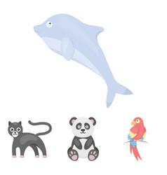 pandapopugay panther dolphinanimal set vector image