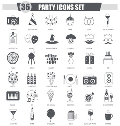 Party black icon set Dark grey classic vector image vector image