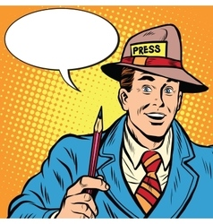 Positive retro journalist interviews press media vector image