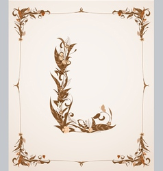 retro vintage letter in a frame vector image vector image