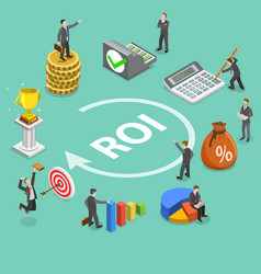 Return on investment flat isometric concept vector
