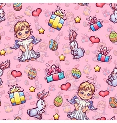 seamless pattern of cartoon Easter elements vector image
