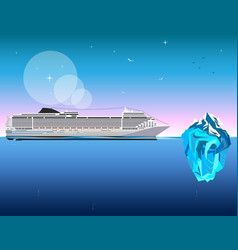 ship with iceberg on blue background vector image