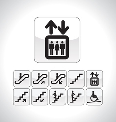 stairs and elevator directional icons vector image vector image