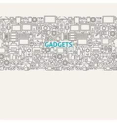 Technology gadgets line art seamless web banner vector