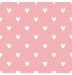 Tile pattern with white hearts on pink background vector