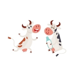 Two cows one holding milk and another running vector image vector image