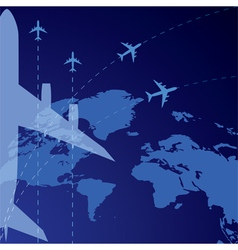 World map and airplane vector