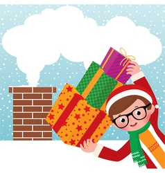 Young Santa Claus with gifts vector image vector image