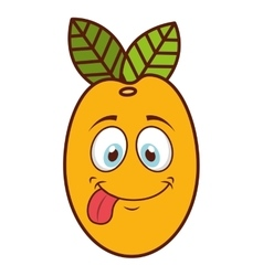 Fruit character face isolated icon vector