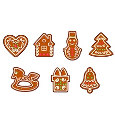 Gingerbread christmas objects set vector