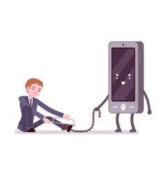 Man is slaved by his smartphone vector