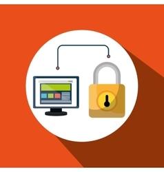 web page padlock secure screen vector image