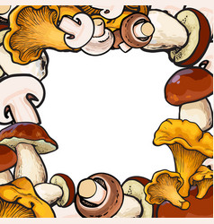 Square frame of sketch mushrooms with place for vector