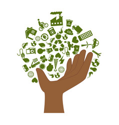 hand with enviroment of recycle and ecology vector image