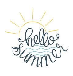 Hello summer of sun icon and sea vector