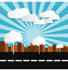 Paper abstract retro city with buildings trees su vector