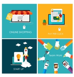 Pay per click online shopping business start up vector