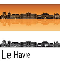 Le havre skyline in orange background vector