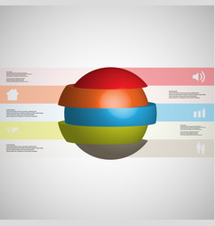 3d infographic template with ball sliced to five vector