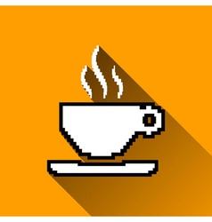 Pixel coffee cup icon long shadows vector