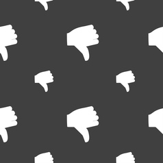 Dislike thumb down icon sign seamless pattern on a vector