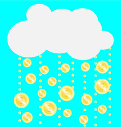 Gold coins falling from the clouds vector