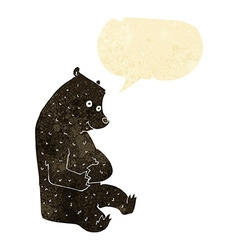Cartoon happy black bear with speech bubble vector