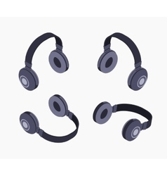 Isometric black headphones vector