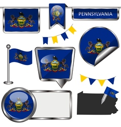 Glossy icons with pennsylvanian flag vector