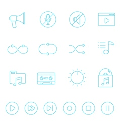 Thin lines icon set - audio controller vector