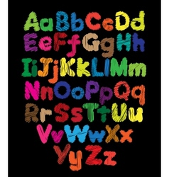 Alphabet kids doodle colored hand drawing vector