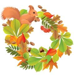 Autumn wreath with squirrel vector image